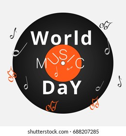 World music day. festival day of music. Vinyl record. Musicians holiday.