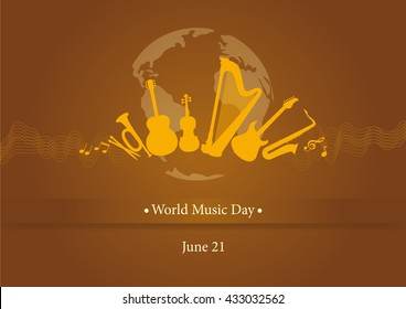 World music day vector. Brown background with musical instruments. Important day