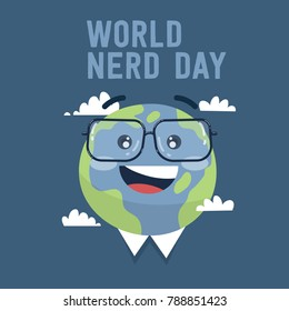 world nerd day earth vector with glasses