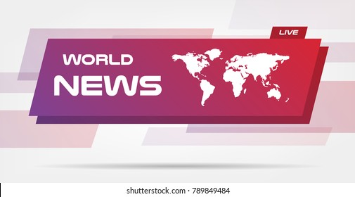 World News Live Banner on Wavy Lines Background. Business / Technology News Background. Vector Illustration. Vector infographics business template for presentation.