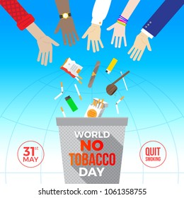 World no tobacco day - concept illustration. Many hands throw out cigarettes and other items for smoking away in the trash