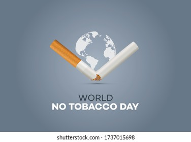 World no tobacco day concept template, poster or banner Vector illustration. Quit tobacco and enjoy life. World anti tobacco day concept background.