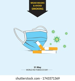 World no tobacco day concept. Smoking could increase the risk of COVID-19 infection. Wear masks and avoid smoking. isolated on sky background & vector illustration.