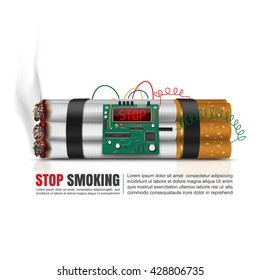 World no tobacco day concept, Cigarettes time bomb, Vector