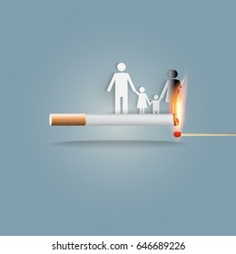 World no tobacco day, a concept for stop smoking. Smoking a cigarette can kill everyone in family. Vector illustration.