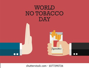 World no tobacco day poster. Reject cigarette offer
