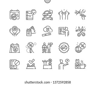 World No Tobacco Day Well-crafted Pixel Perfect Vector Thin Line Icons 30 2x Grid for Web Graphics and Apps. Simple Minimal Pictogram
