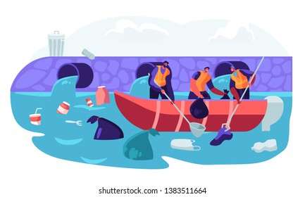 World Ocean Pollution. People in Boat Collecting Plastic Garbage Waste Floating in Sea. Polluted Water Environment. Ecology Ocean Water, Trash, Ecology Protection. Cartoon Flat Vector Illustration