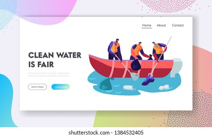 World Ocean Pollution. People in Boat Collecting Plastic Garbage in Sea. Polluted Water Environment. Trash, Ecology Protection. Website Landing Page, Web Page. Cartoon Flat Vector Illustration, Banner