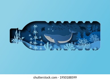 World oceans day concept, the blue whale in a bottle of water. Help to protect animals and the environment, paper illustration, and 3d paper.