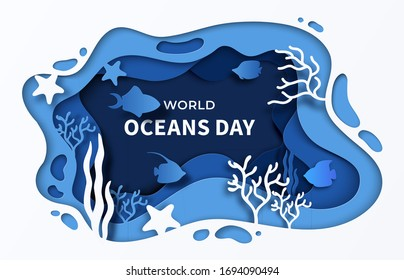 World Oceans Day paper cut sea background. 8 june paper craft summer poster for help sea ecosystem. Vector cartoon illustrations underwater ocean coral reef with waves fish and seaweeds concept