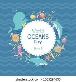 World oceans day. Sea animals. Poster. Vector illustration.