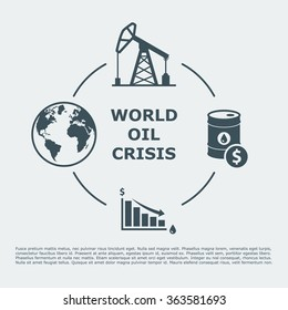 world oil crisis infographic. drop in oil prices concept. vector illustration