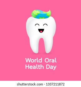 World oral health day icon design. Cute cartoon tooth character. Dental care concept, Vector illustration isoltaed on pink background.