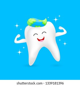 World oral health day icon design. Cute cartoon tooth character. Dental care concept, Vector illustration isolated on blue background.