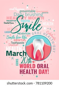 World oral health day poster idea with cloud of words and healthy tooth image. Medical, dental and healthcare creative concept. Vector illustration in modern style with beautiful lettering.
