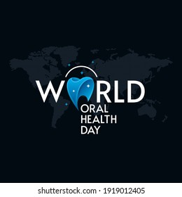 World Oral Health Day typographic lettering on world mapped black background. Dental greeting card design.