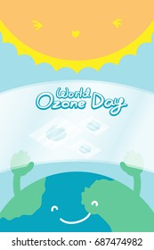 World Ozone Day 16 September vertical Banner set, Global warming concept smile earth with hand hold ozone layer fix and sun illustration isolated on blue background, with copy space