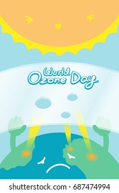 World Ozone Day 16 September vertical Banner set, Global warming concept sad earth with hand hold ozone layer have hole and sun illustration isolated on blue background, with copy space