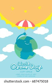 World Ozone Day 16 September vertical Banner set, Global warming concept smile earth with umbrella protection, sun, sky and cloud illustration isolated on blue background, with copy space