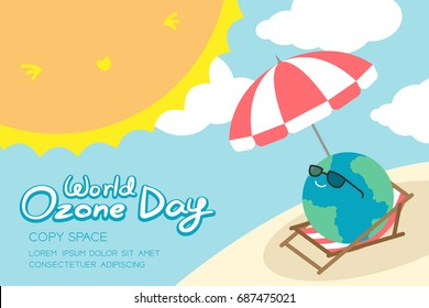 World Ozone Day 16 September horizon Banner set, Global warming concept smile earth with sunglasses, umbrella, chair, beach, sun, sky and cloud illustration isolated, with copy space