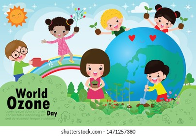 World Ozone Day, children love for the Earth and care for the environment, save the planet, save the world, ecology concept vector illustration isolated on background Template for advertising brochure