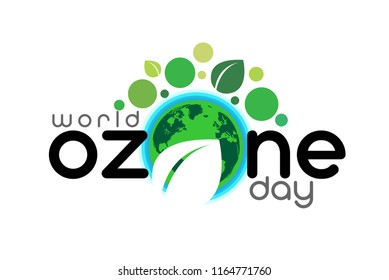 World ozone day concept banner. Green Eco Earth. Vector illustration