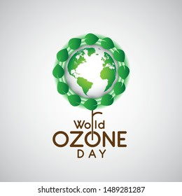 World ozone day concept banner. Green Eco And Save Earth . Vector illustration