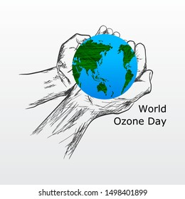 World ozone day concept. Beautiful and simple element. Minimalist design with hand sketch.