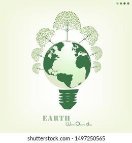 World ozone day concept vector. Green eco earth. Earth Day. Save the earth concept. Vector illustration and World ozone day. Green earth energy source