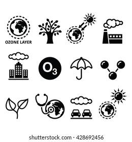 World ozone day, ecology, climate change icons set