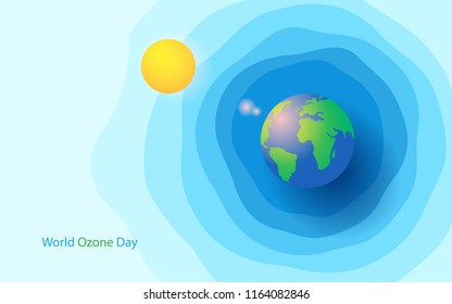 world ozone day with sun, globe, and ozone layer concept