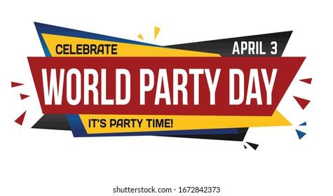World party day banner design on white background, vector illustration