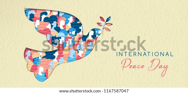 World Peace Day greeting card illustration, diverse people group together for special holiday celebration. International social help concept. EPS10 vector.