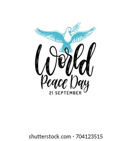 World Peace Day poster. Vector hand drawn illustration of dove with a palm branch on white background. Holiday card with calligraphy.