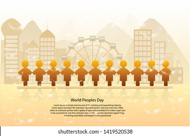 World peoples day - 11 peoples standing from front of town landscape background for world , population conservation concept to balance , Vector EPS.10