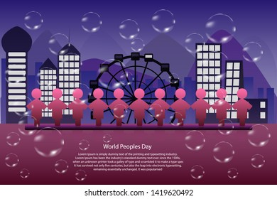 World peoples day - 11 peoples standing from front of town landscape background for world, Night scene , Population conservation concept to balance, Vector EPS.10