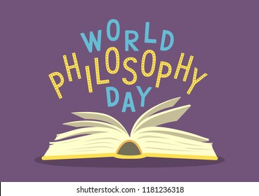 World Philosophy Day. Open book with hand written text on purple background. Vector illustration.