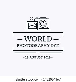 World Photography Day Design Template. Vector Thin Line Background