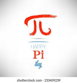 World Pi Day flat design vector illustration on white background