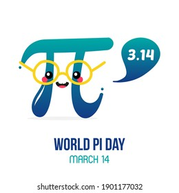 World Pi Day vector card, illustration with cute cartoon style pi letter character with speech bubble.