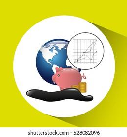 world piggy oil industry growth diagram background vector illustration eps 10