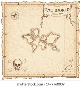 The World pirate map. Ancient style map template. Old world borders. Vector illustration.