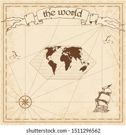 World pirate map. Ancient style navigation atlas. Eckert II projection. Old map vector.