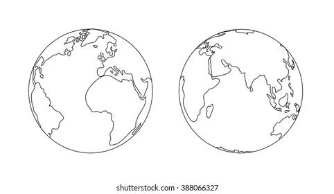 World planet Earth globe outline icon illustration isolated.