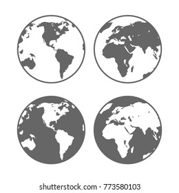 World planet earth icons set. Two globes of the different sides. Vector illustration isolated on white background