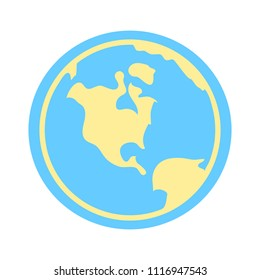 world planet icon - globe earth illustration, world map symbol