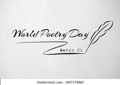 World poetry day card with feather