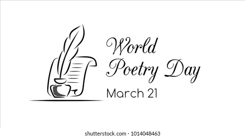 World poetry day vector greeting banner. Facebook size
