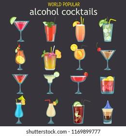 World popular alcohol cocktails color flat icons set